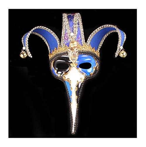 WFTD Römische Maske gemalt Tanzmaske Lange Nase DREI Farben zur Auswahl geeignet für Masquerade Party Performance Festival Karneval, Einheitsgröße,Blue