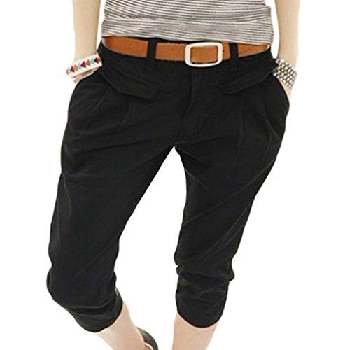 Chengyang donna casuale elasticità matita pantaloni capri slim taglia forte pantaloncini nero xl