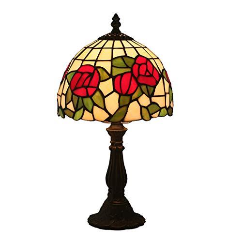 Tiffany-stil-rote Rose (Litaotao 8-Zoll-Vintage Tiffany-Stil Lesetisch Neben Lampe Europäischen Roten Rose Glas Lampenschirm Büro Studie Restaurant Dekor Lampe, 110-220V, E27)