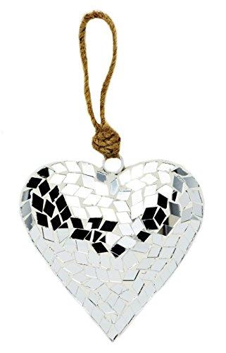 Mirror Mosaic Heart Hanging Decoration 10 cm