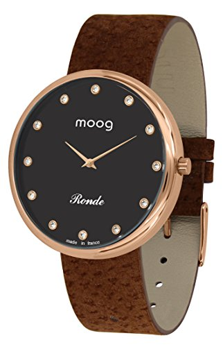 Moog Paris Ronde Vogue Women's Watch with Black Dial, Brown Genuine Leather Strap & Swarovski Elements - M41671-A41