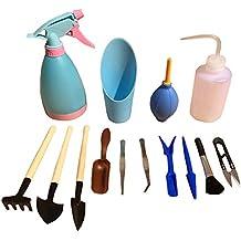 STAR ssto 14pcs Set di strumenti di giardinaggio Mini Set di utensili a mano in legno Purificato insieme piante grasse insieme di attrezzi di piante a Console Bonsai