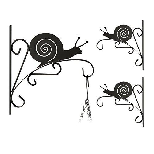 3x Blumenhaken, verschiedene Motive, Blumenampelhalter für Wand, Metall Garten-Deko, schwarz (Schnecke) (3-tier-blumenampel)