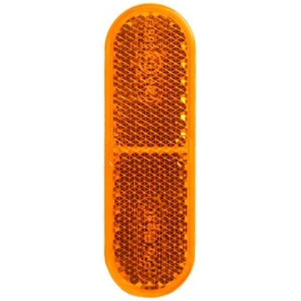 2 x Gabel-Reflektor gelb rechteckig /Ø-60mm 85x31mm selbstklebend Katzenauge Roller Quad E-gepr/üft