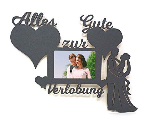 Namofactur Verlobungsgeschenke für Beide Geschenk zur Verlobung Mann Frau Wand Foto Holz Bilderrahmen Alles Gute 10x15 cm Ehepaar Ehefrau Ehemann (Verlobungsfeier Zur Ideen)