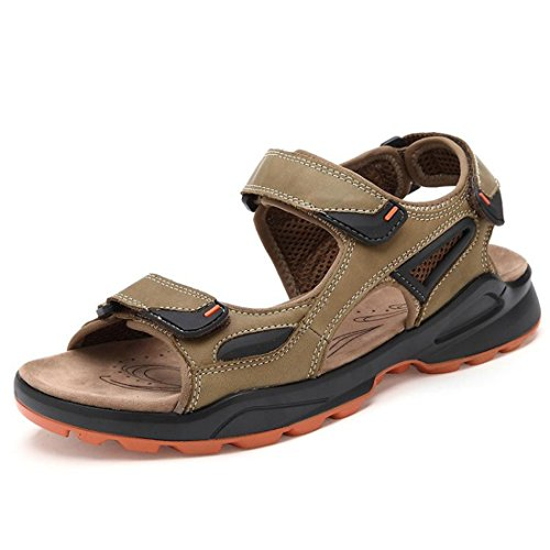 Men's Genuine Suede Leather Outdoor Casual Sandals Kaki