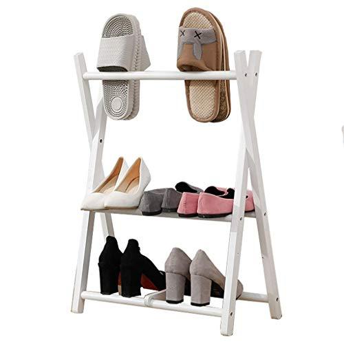 WG Schuh-Racks 3 Tiers Wooden Shoe Rack Beech Foldable Small Mini Shoe Stand Storage Organisator Shelf Nordic Bedroom Hallway Solid Wood Slippers Storage Racks,50×32×70cm Indoor and Outdoor,B - 3-tier Shoe Rack