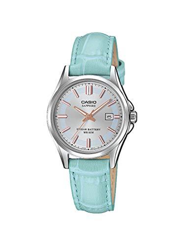CASIO Damen Analog Quarz Uhr mit Leder Armband LTS-100L-2AVEF