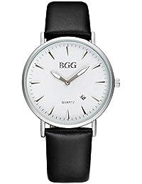 wkae Schutzhülle Uhren Herren Kalender Casual Quarzuhr Herren Wasserdicht Lederband Uhren relogios masculinos (Farbe: 4-bgg0006)