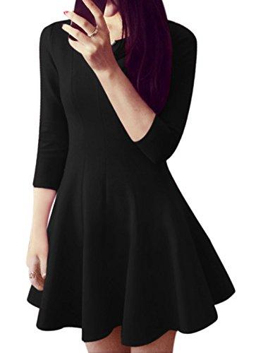 Femme Col Rond 3/4 Manches Sans doublure Décontracté ligne-A Robe Noir