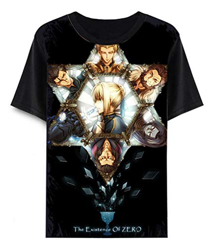 Zero Cosplay Kostüm Fate - Cosstars Anime Fate Zero Fate/Stay Night T-Shirt Cosplay Kostüm Sommer Kurzarm Tee Top Shirts Schwarz 2 XL