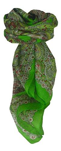 Traditional Maulbeereseide Quadratischer Tuch Madras Green von Pashmina & Silk Madras Wrap