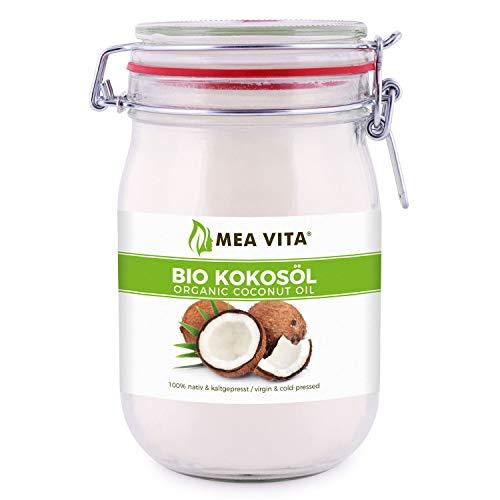 Huile de noix de coco biologique extra vierge, MeaVita, 1 Litre (1 X 1000 ml)