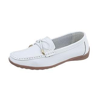 Ital-Design Mokassins Leder Damen-Schuhe Mokassins Moderne Halbschuhe Weiß, Gr 37, 9008-
