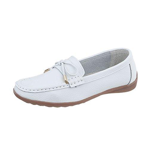 Ital-Design Mokassins Leder Damen-Schuhe Mokassins Moderne Halbschuhe Weiß, Gr 38, 9008-