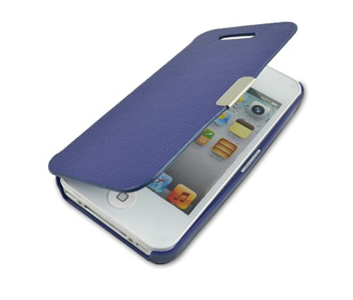 gada - Handyhülle für Apple iPhone 4S 4 4G - Sehr schönes Leder-Imitat Flipcase Cover mit Magnetverschluss - Schwarz Blau