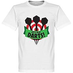 Let? s play dardos camiseta, Unisex, blanco, small