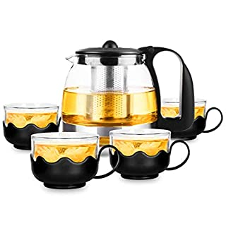 PluieSoleil Teapot Set with 4 Cups Glass Teapot with Removable Stainless Steel Infuser for Loose Leaf Tea or Blooming Tea,Clear Borosilicate Glass