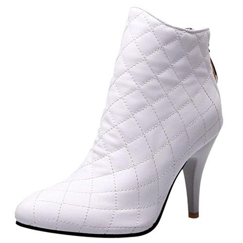 Damen Kurzschaft Stiefel Kariert Stiletto Spitze Reißverschluss Sexy Klub Mittelhoch High Heels Warm gefüttert Weiß
