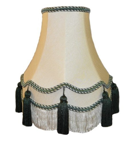 Premier Lampshades 22 Inch Laura Green Tassel Fabric Lampshade
