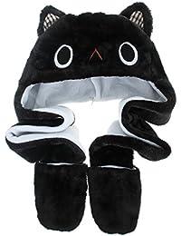 MARRYME Adulte Enfant Peluche Bonnet Hat Echarpe Chale Earflap Gloves Gant Cagoule  Automne Hiver Chapka Ski e0ad876e98c