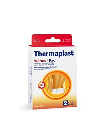 Thermaplast Wärme-Pad 22 x 10 cm, vollflächig klebendes Wärmepflaster, Schmerzpflaster für 8 Stunden therapeutische Tiefenwärme bei Muskelschmerzen (2. St. in der Packung)