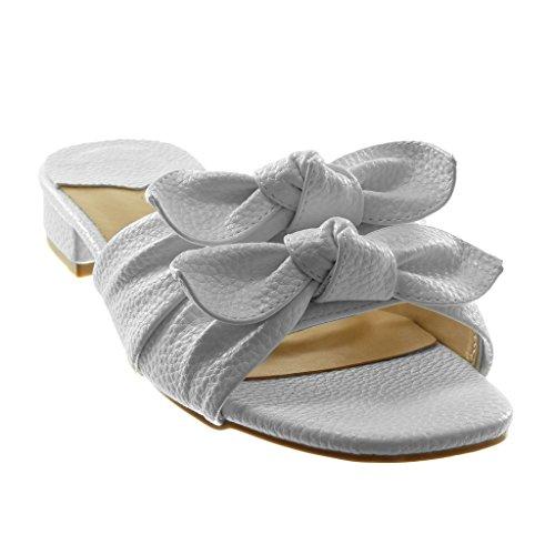 Angkorly Scarpe Moda Sandali Mules Slip-On Donna Nodo a Grana Tacco a Blocco 3 cm Bianco