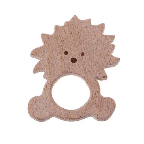 Jiamins Löwe Baby Holz Beißringe Schnuller für Jungen Mädchen,BPA freies Baby Spielzeug