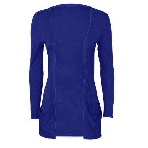 Runway Splash - Cardigan Pour Femme Manches Longues 2 Poches Bleu Roi