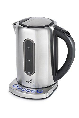 Senya bouilloire électrique température réglable Inox Tea Touch, filtre anticalcaire, sans fil avec corps en acier inoxydable, thermostat réglable à 5 températures, 1,7L, 2200W, SYBF-K020
