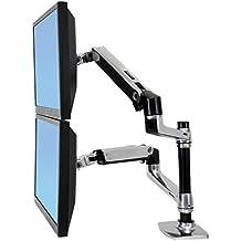 "Ergotron LX Series Dual Stacking Arm - Soporte para televisor (18,1 kg, 61 cm (24""), 75 x 75 mm, 100 x 100 mm, 360°, Plata)"