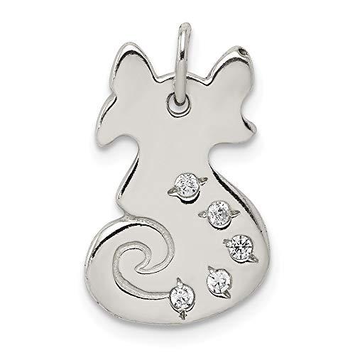 Sonia jewels argento massiccio sterling 925lucidato cz ciondolo a forma di gatto con zirconi