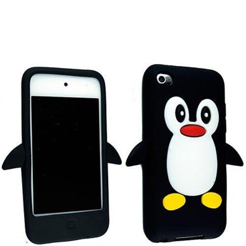 Tinkerbell Trinkets® Schwarz Apple iPod Touch 4TH 4G 4 Generation Pinguin niedlichen Tier Silikonhülle Shell Beschützer Handy Smartphone Zubehör
