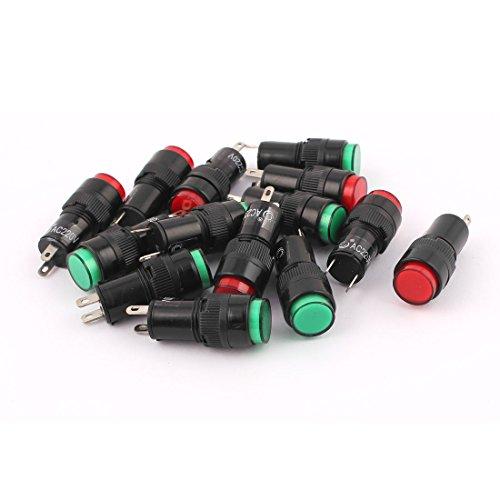 sourcingmap® 14Stk AC 220V 11mm Gewinde Grün Rot LED Birne Signal Pilot Kontrollleuchte de - Rote Kontrollleuchte
