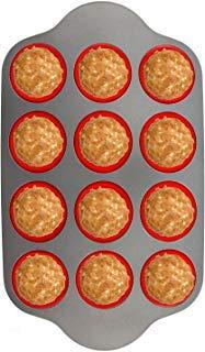 Silikon Muffin Pfanne mit Stahl Rahmen, Größe 12Tassen Full | Professional Antihaft Backen Formen von boxiki Küche | FDA genehmigt BPA frei Bakeware | Silikon 12Cup Muffin Form Professional 12-cup Muffin Pan