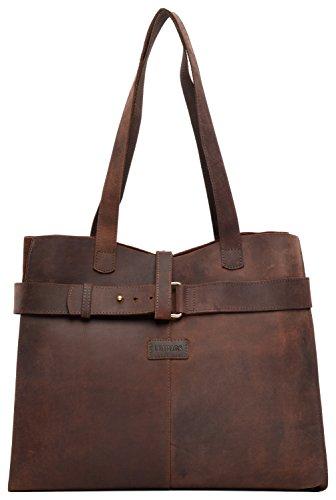 LEABAGS Meru shopping bag vintage in vera pelle di bufalo - Mahagoni Mahogany