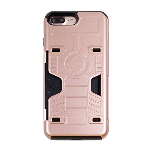 Hülle für iPhone 7 plus , Schutzhülle Für iPhone 7 Plus Schock-resistent TPU + PC Kombination Boxing Champion Gold Gürtel Fall mit Card Slot ,hülle für iPhone 7 plus , case for iphone 7 plus ( Color : Rose gold