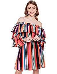 408dc9df6f44d6 oxolloxo Women Off Shoulder Multicolor Striped A-Line Dress (Long Sleeves)