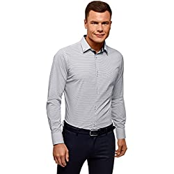 oodji Ultra Hombre Camisa de Algodón Entallada, Blanco, 42cm / ES 52 / L