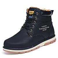 gracosy Mens Snow Boots Winter Warm Fur Lined Martin Boots Fashion Antiskid Lace Up Chukka Flat Boots Shoes Comfy Casual Sneaker Trekking Walking Combat Boots Suede Leather Shoes Size Black Blue Brown