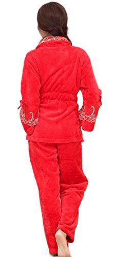 Pigiama Di Flanella Di Lusso Da Donna Morbido E Confortevole Pigiama Caldo Di Corallo E Cashmere Addensato Pigiama E Pantaloni Da Pigiama Set Completo Red