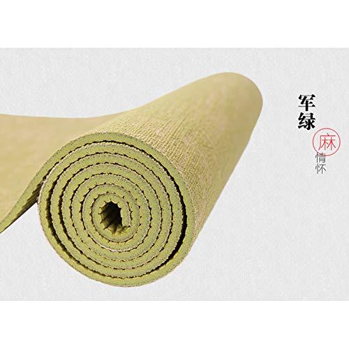 Baibian Natürliche Jute Yoga-Matte Pad 183 * 61 cm * 5 Mm Eco Hybrid Leinen Yoga-Matte Kit für Yoga Pilates & Fitness-Übung,Grün -