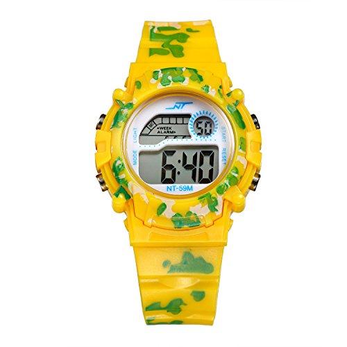 Kinderuhr Junge, Kinderuhr Armbanduhr Analog Sports Uhren für Jungen und Mädchen Uhr Sports Uhren gelb