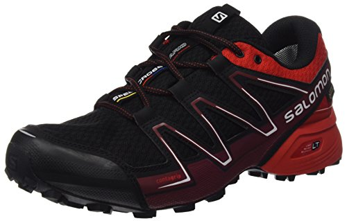 Salomon L39068700, Zapatillas de Trail Running Hombre, Negro (Black / Radiant Red / Briquex), 40 2/3 EU