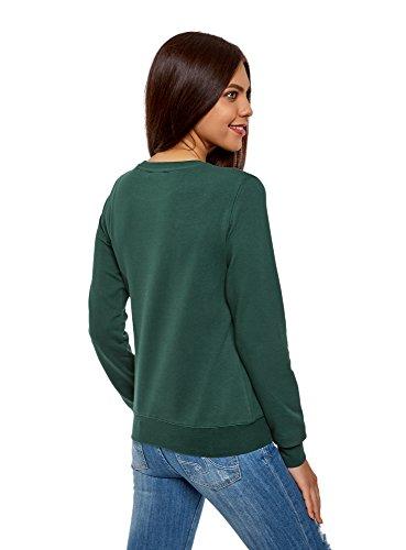 oodji Ultra Damen Baumwoll-Sweatshirt Basic Grün (6900N)