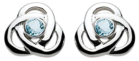 Heritage Women's Sterling Silver and Blue Topaz Knot Stud Earrings