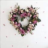 kuupag Simulazione Rose Flower Ghirlanda Ornamenti Porte Decorate A Forma di Cuore di Fiori Artificiali Corona Architrave Home Decorazioni di Nozze