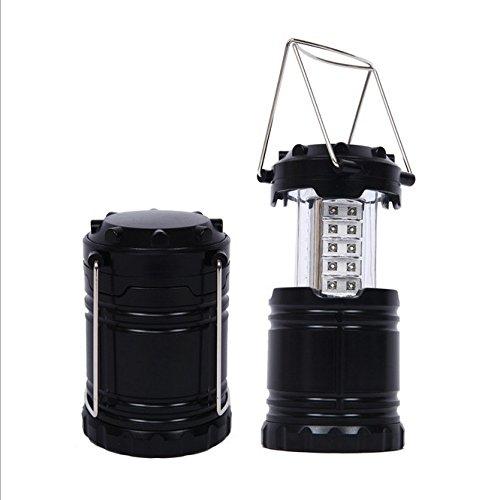 VERTEE Lanterne Exterieur Portable Pliable 30 LED Super Bright Lampe Phare Camping Randonnée Situations d'urgence Ouragans Pêche Chasse Maison Jardin Noir
