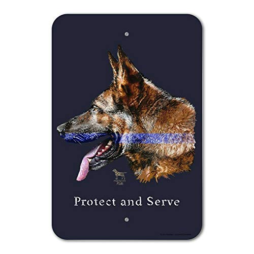 Co5675do Metal Sign 12x16 Inches Funny Sign Poster Plaque Protect Serve K9 Police Thin Blue Line Home Business Office Sign -