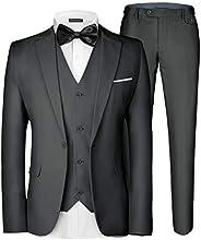 طقم ملابس رجالي 3 قطع من MAGE MALE أنيق بزر واحد ضيق ضيق واحد صف واحد للحفلات بليزر طقم سراويل
